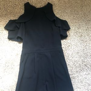 topshop cold shoulder ruffle romper